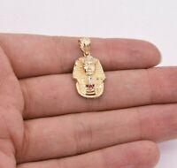 "1 1/4"" Pharaoh Egyptian King Diamond Cut Ruby Pendant Real 10K Yellow White Gold"
