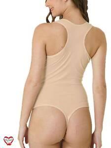 Damenbody String Sportbody Tanzbody Yoga Fitness Body Tanga Beige BS2942