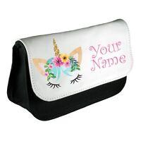 Personalised Girls Unicorn Flower Pencil Case Make Up Bag School Kids Custom New
