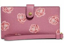 New coach rose print phone wristlet 32450 fits Iphone Android snap closure