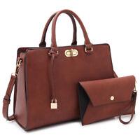 Women Leather Satchel Hand Shoulder Bags Briefcase w/ Wrislet Wallet Purse