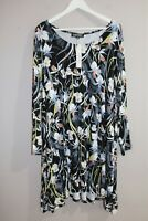 context Woman Brand Black Floral Long Sleeve Day Dress Size 2X BNWT #SD47