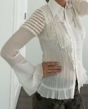 KF High Fashion Ling Sleaves off wite Blouse Sz M/L