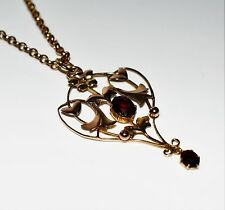 Victorian Garnet 9ct Yellow Gold Lavaliere Necklace Pendant with Chain