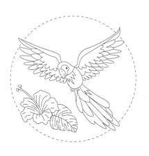 Embroidery Transfer - Parrot Bird Flowers Floral - Iron On Reusable 15 x 15cm