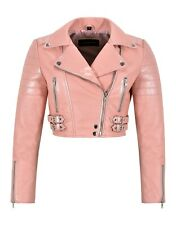 Women Baby Pink Leather Jacket White Pearl Effect Cropped Bikers Fashion Jacket