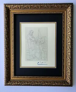 PABLO PICASSO ORIGINAL 1962 SIGNED SUPERB ENGRAVING MATTED 11 X 14 + LIST