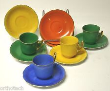 Old Gold Castle Porcelain Tea Cups & Saucers Made in Japan  Vivid Colors 12 Pcs