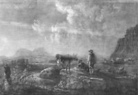 COWS. Cowherds and Cattle, in evening, antique print, 1852