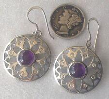 Vintage Pierced Sterling Earrings, Natural Amethyst Cabochons & CZs, Konder #760