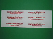 TRAIN HO.LOT.DECALCOMANIES.TRANSCEREALES. POUR 3 WAGONS CEREALIERS .C101