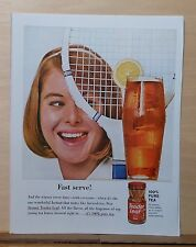 1963 magazine ad for Tender Leaf Instant Tea - Fast Serve! tennis racket