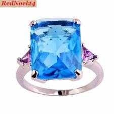 Espléndido Esmeralda Corte Topacio Azul & amethyts 925 Estampado De Plata Anillo Talla 10-T