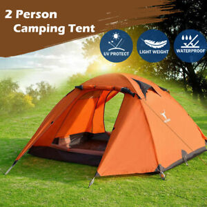 Portable Outdoor Lightweight Hiking Backpacking Camping Waterproof Tent Orange