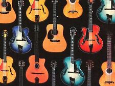 RPFMD281C Acoustic Guitar Music Instrument Rock Surf Country Cotton Quilt Fabric