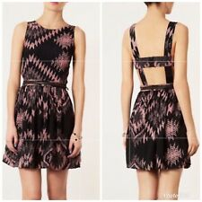 TOPSHOP Sleeveless Dress SZ 8 Black Pink Tribal Caged Back Pockets Ikat Pinafore