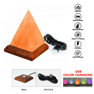 Pink Himalayan Salt Lamp USB LED Color Changing Healing Ionizing Night Lamp CE