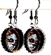 Ohrringe Totenkopf Skelett Oval Damen Ohrschmuck Modeschmuck Schwarz Glas