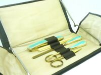 Silver Guilloche Enamel Manicure Set, Sterling, Cased, English, Hallmarked 1935