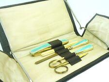 Conjunto de manicura Esmalte Guilloche Plata, Sterling, entubado, inglés, ley 1935