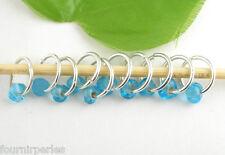 10 Bijoux Marqueurs Anneaux perles Lampwork Verre Bleu 14mm