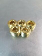 "Lot of 5 pcs. 1/8""  Male NPT, MNPT Brass Plug Allen Key Countersunk Hex"