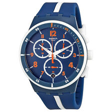 Swatch Originals Whitespeed Blue White Orange Dial Chrono Quartz Watch SUSN403