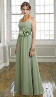 Mori Lee by Madeline Gardner Maxi Dress Prom Satin Flower Green Sz12 NWT 1037