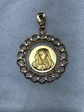 18 Kt YELLOW GOLD Virgin MaryPENDANT #3676