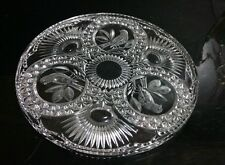 "HOFBAUER Crystal BYRDES Birds Low CAKE PLATE 12"" Round Serving Tray PLATTER"