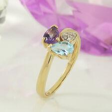 Ring in 375/- Gelbgold mit Amethyst, Blautopas + 7 Diamanten - Gr. 54