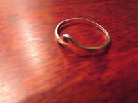 Besonderer 925 Silber Ring Modern Designer Bauhaus Saphir70er 80er Verbogen