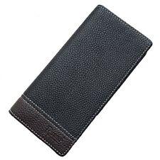 Men's Bifold Leather Credit ID Card Holder Breast Pocket Long Wallet Checkbook