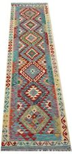 Afghan Handmade Nomadic Tribal Unique Multi Coloured Wool Kilim Runner 72x298cm