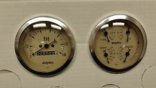 DOLPHIN 3 3/8 QUAD TAN MECH STREET ROD GAUGE SET STREET ROD HOT ROD, UNIVERSAL
