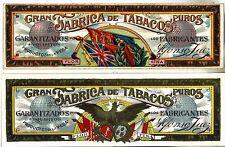 c1900 2 CIGAR LABELS Gran Fabrica de Tabacos TOBACCO SMOKING Alfonso Fuez
