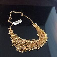 LEE ANGEL GOLD FRINGE / GOLD BALL CHAIN TASSEL BIB STYLE FASHION NECKLACE - NWT