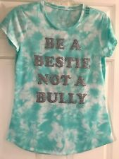 NWT Girls Justice Tye Die Short Sleeve Top Size 18/20 - BE A BESTIE NOT A BULLY