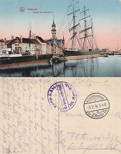 1916 SHIPS IN OSTEND HARBOUR BELGIUM COLOUR POSTCARD WW1 FIELD POSTMARKS