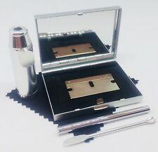 SNUFF SNORTING KIT, METAL SNUFF KIT mirror box PLUS SILVER SNIFF BULLET