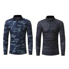 Men Long Sleeve Camouflage Lapel T-shirt Army Military Casual Cotton Tops Shirts