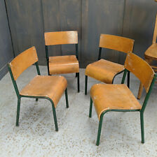 Set of 4 Child's 1950's Vintage Sunday School Ply & Tubular Steel Stacking Chair