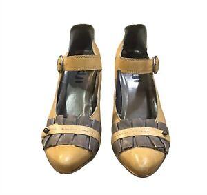 Fidji Women's Shoes Size 37.5/7 Mary Jane Buckle Leather Mustard Gray Heeled