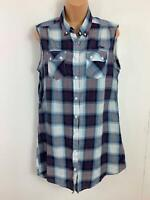 WOMENS LEE COOPER BLUE/WHITE/RED TARTAN CHECK SLEEVELESS CASUAL BLOUSE SIZE 12