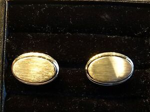 "Vintage 1940s Anson Large 1"" long Goldtone Oval~Plain Brushed Surface Cufflinks"