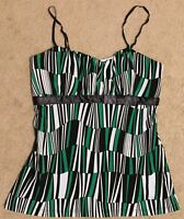 Rampage Small Spaghetti Strap Padded Tank Top Geometric Green White Black Shapes