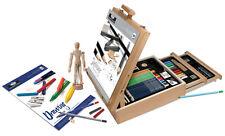 Artist Sketching & Drawing Wooden Easel Box Set 124Pcs Mannikin,Pencils REA6250