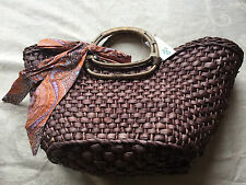 BRAND NEW STRAW STUDIOS SUMMER TOTE BAG - 2 STRAP  CANE HANDLE IN BROWN