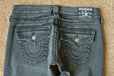TRUE RELIGION BILLY 26X33 Black Jeans NWOT$314 Distressed!Slim Stretch!Swarovski