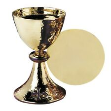Blue Cross Chalice with Paten - Brass & Gold Plate/Enamel, Holds 20 oz